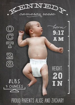 Chalkboard Baby Stats, can you dig it? we do! #babyshower #partyideas #invitations #babyinformation #proudparents
