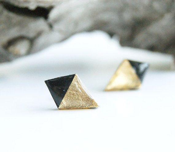 Black gold leaf rhombus clay studs earrings by InviolaJewerly