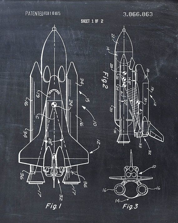 This is a print of the patent drawing for the Space Shuttle in 1975. The original patent has been cleaned up and enhanced to create an attractive