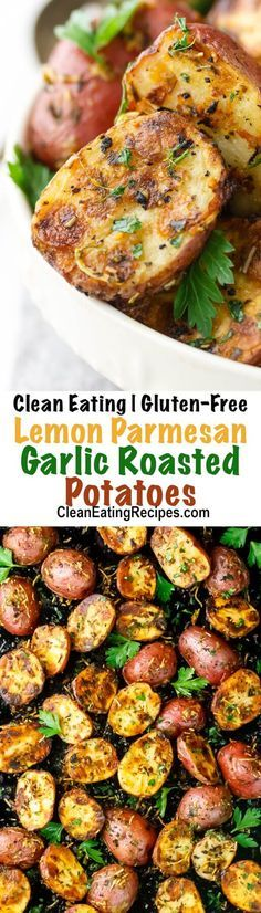 These garlic roasted potatoes have a slight hint of lemon, herbs and Parmesan cheese. Plus, they are crispy on the outside and tender on the inside. Perfection! {Clean Eating & Gluten-Free}