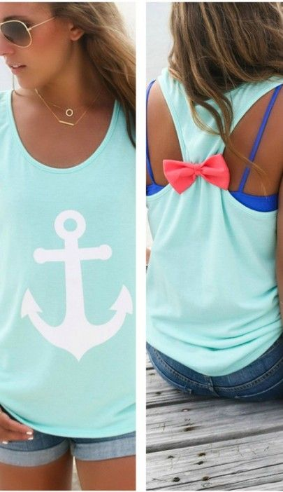 Green Anchors Print Bow Sweet Vest