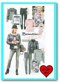 MODEBLOG - Shop54 biedmeer collectie damesmode onlineGezien in de Libelle de collectie Poetry van Brandtex bestande uit trendy jasjes in een mooi dessin met bijpassende sjaal. Een slimfit jeans in combinatie met gedessineerde pulls nu te koop bij Atelier Damesmode Shop 54.