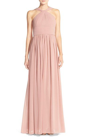 Bridesmaid dress idea Donna Morgan Donna Morgan 'Hayley' Halter Style Pleat Chiffon Gown available at #Nordstrom