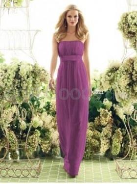 Sheath Strapless Chiffon Draped Bridsmaid dress
