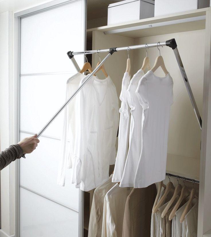 New Pull Down Wardrobe Robe Rail Rack Hanger Wardrobe