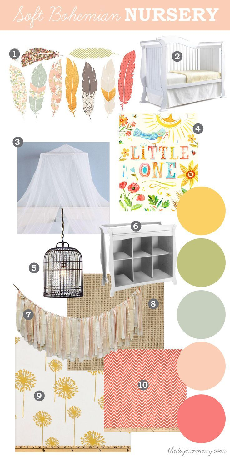 Mood Board: Soft, Eclectic Boho Nursery. Natural elements like feathers and burlap with soft, pastel colours like peach, coral, yellow and g...: