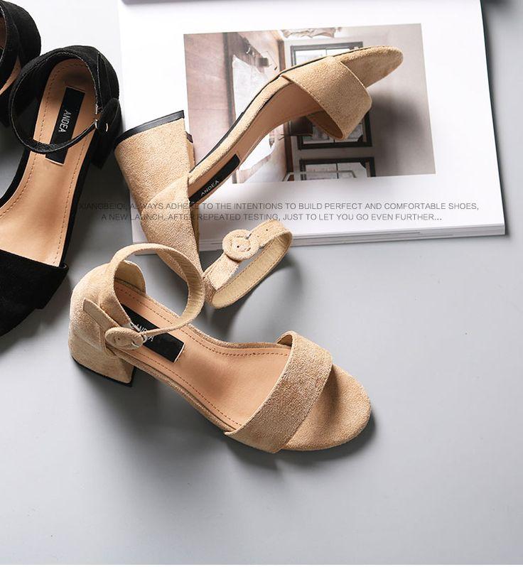 Толстая сандалии женщина Ксиаксю Шэн 2017 новая дикая корейская версия слова пряжки с открытым носком на высоких каблуках черная женщины - Taobao