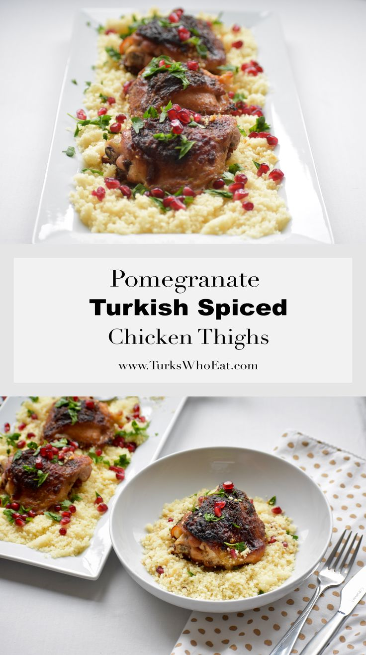 An easy recipe for chicken thighs with a rub of pomegranate molasses and Turkish spices that looks elegant enough for a dinner party.