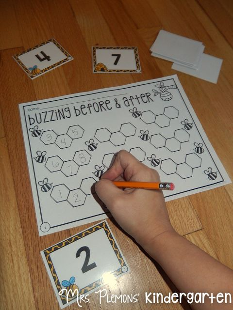 "Build Kindergarten Number Sense with these 20 differentiated centers!  In ""Buzzing Before & After""  students develop number sense by identifying numbers both before and after a given number."