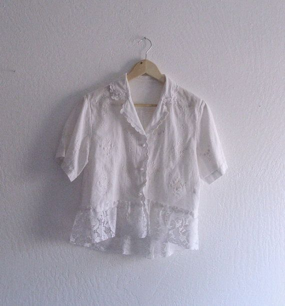 Rustic Embroidered Linen Shirt/ Ethical Eco Fashion Dress/ Funky Shirt / Shabby Chic clothing. $45.00, via Etsy.