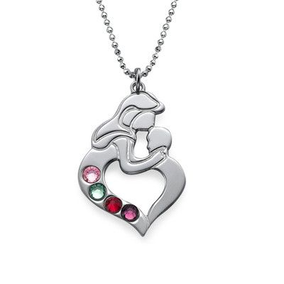 Mother's Child Necklace with Birthstones | MyNameNecklace