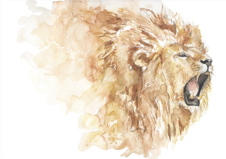 "Megan Childs, ""Gold Lion"" Watercolour on Canson 300gsm"
