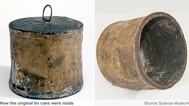 "DESIGN Peter Durand, an Englishman, was granted a patent from King George III in 1810 for preserving food in ""vessels of glass, pottery, or tin."" He heard of Appert's system and wanted to expand the packaging from small food to 30 pounds of meat in a single tin can. Using iron coated tin as the new container would prevent rusting and it could be sealed just as tight as glass with out the ability to shatter. Soldered tin cans held more and were easier then corked glass to handle."