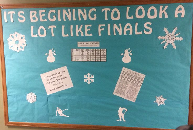 Winter Break closing bulletin board. Included final exam schedule as well as tips and move out process reminders.