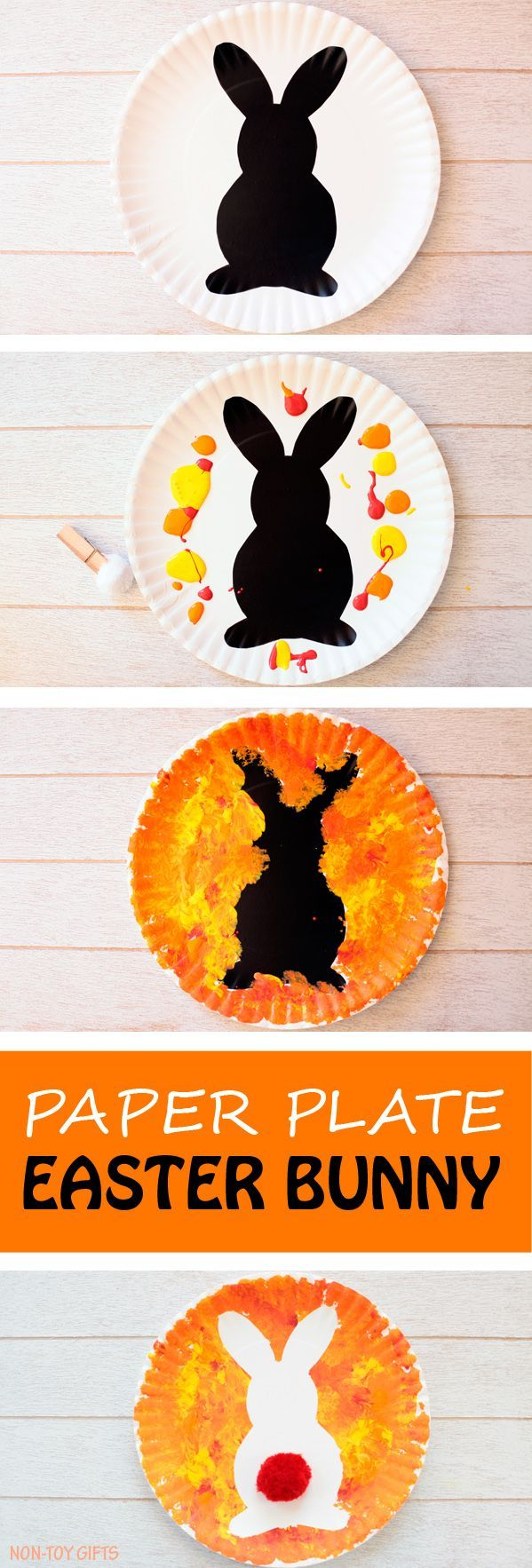 Paper plate Easter bunny craft for kids. Easy art project for toddlers, preschoolers, kindergartners and older kids. It makes a fun DIY Easter decoration. Spring rabbit craft.   at Non-Toy Gifts