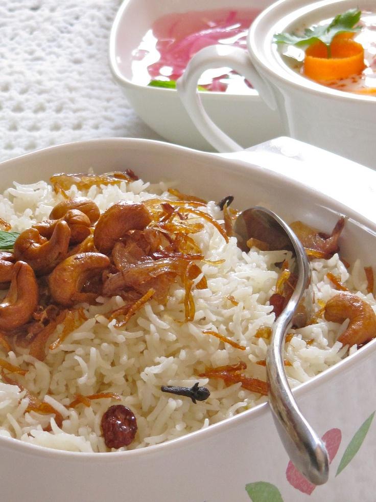 Fragrant Ghee Rice with Raita and Relish — Neychoru with Kachumber and Ulli Surka