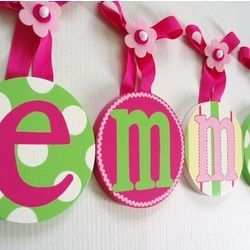 Cute nursery or kid's room idea-I did something similar to this. I used material for the letters and used an embroidery hoop.