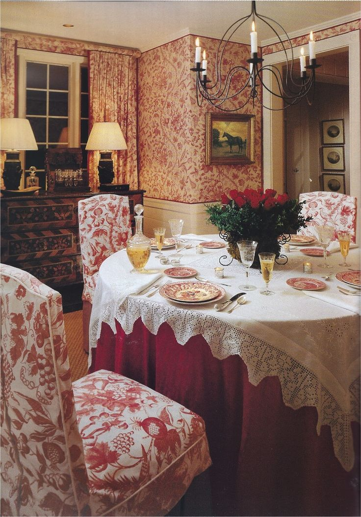 Warm And Cozy Red Toile Dining Room