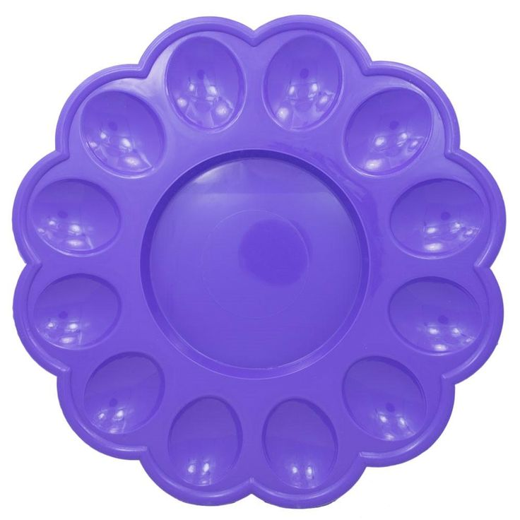 "9.5"" 12 Easter Eggs Purple Plastic Tray Display"