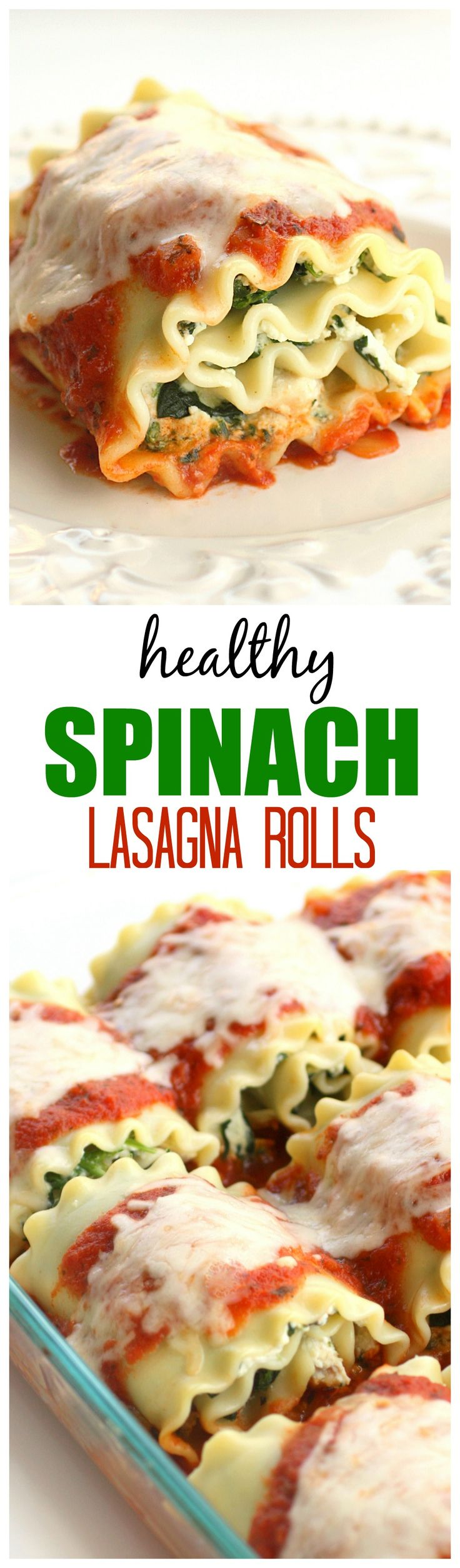 Healthy Spinach Lasagna Rolls - easy, healthy, and filling! the-girl-who-ate-everything.com- I've made these 15 years ago. So easy but I use beef and cook it with the spices. Put sauce and olive on the bottom of pan and a tad of red wine. Cut some fresh or part skim mozzarella and place pieces on each roll, cover for most of cooking time and last 10 minutes take foil off so all is melted through... Keep the oven door open and watch it, it may take less time... make your own garlic bread…