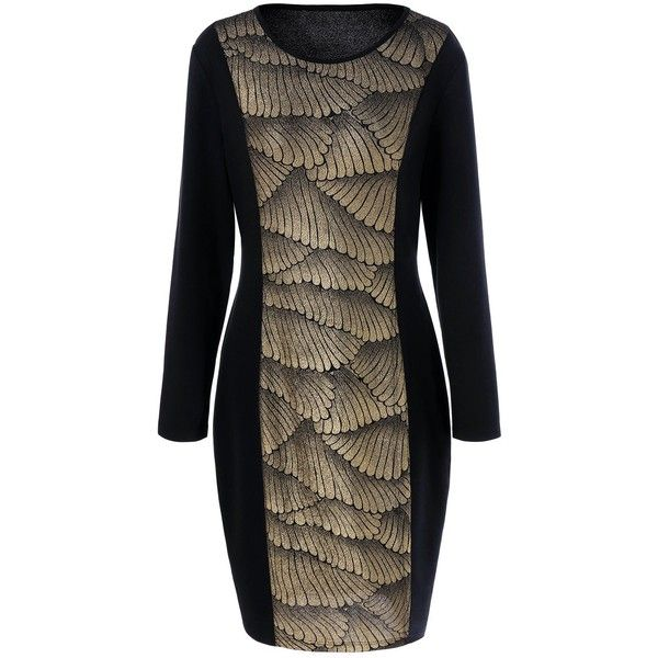Plus Size 3D Wing Print Bodycon Dress (29 BAM) ❤ liked on Polyvore featuring dresses, women's plus size dresses, brown bodycon dress, mixed print dress, patterned bodycon dress and body conscious dress