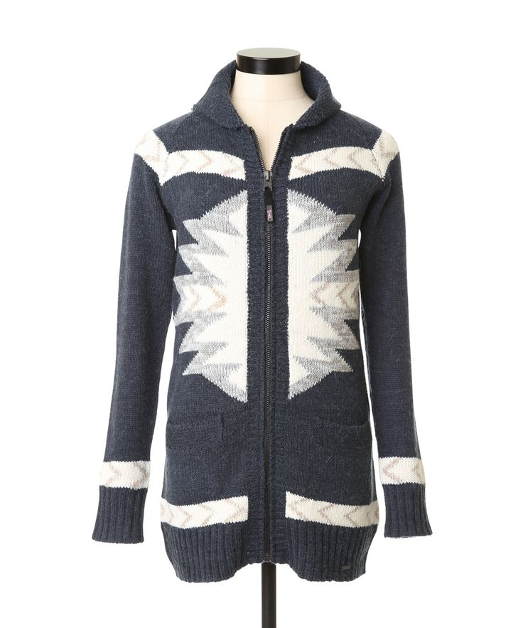 online order only - aztec wool cardiganaztec wool cardigan, NAVY