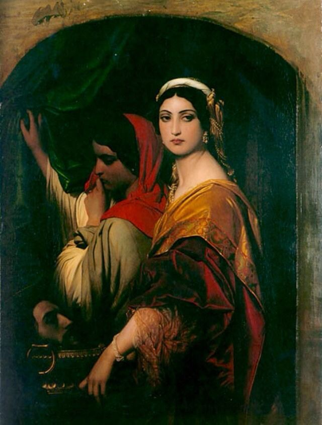 "Paul Delaroche (1797-1856) ""Herodias"" (1843) Oil on canvas Located in the Wallraf-Richartz-Museum, Cologne, Germany Herodias (15 BC-after 39 AD) was a princess of the Herodian Dynasty of Judaea during the time of the Roman Empire."