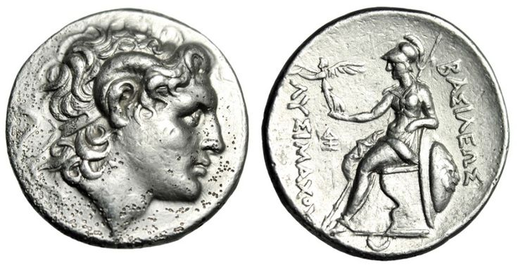 Kings of Thrace: Lysimachos AR Tetradrachm. Lampsakos Mint 297-281 BC. Obverse: Diademed head of the deified Alexander right, with horn of Ammon. Reverse: Athena Nikephoros seated left, left arm resting on shield, transverse spear in background; ??S?L?WS to right, L?S???Z?? crowned by Nike to left, monogram in inner left field, crescent in exergue. References: Thompson 49; SNG Copenhagen 1097. Size: 29mm, 16.97g. Alexander The Great's favored generals!