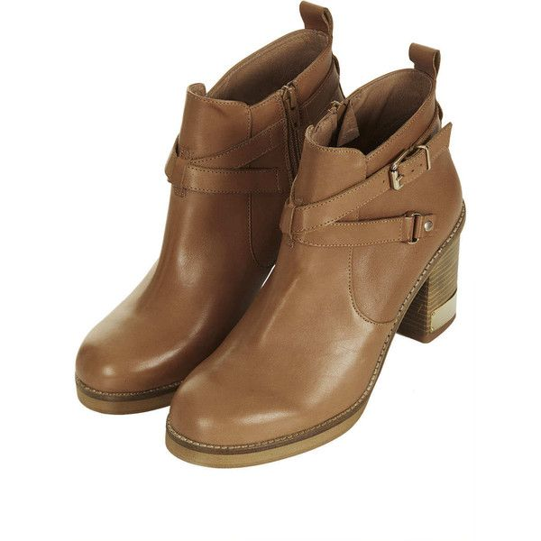TOPSHOP Metal Trim Leather Boots (210 CAD) ❤ liked on Polyvore featuring shoes, boots, camel, strappy high heel shoes, strap boots, camel boots, leather shoes and strap shoes