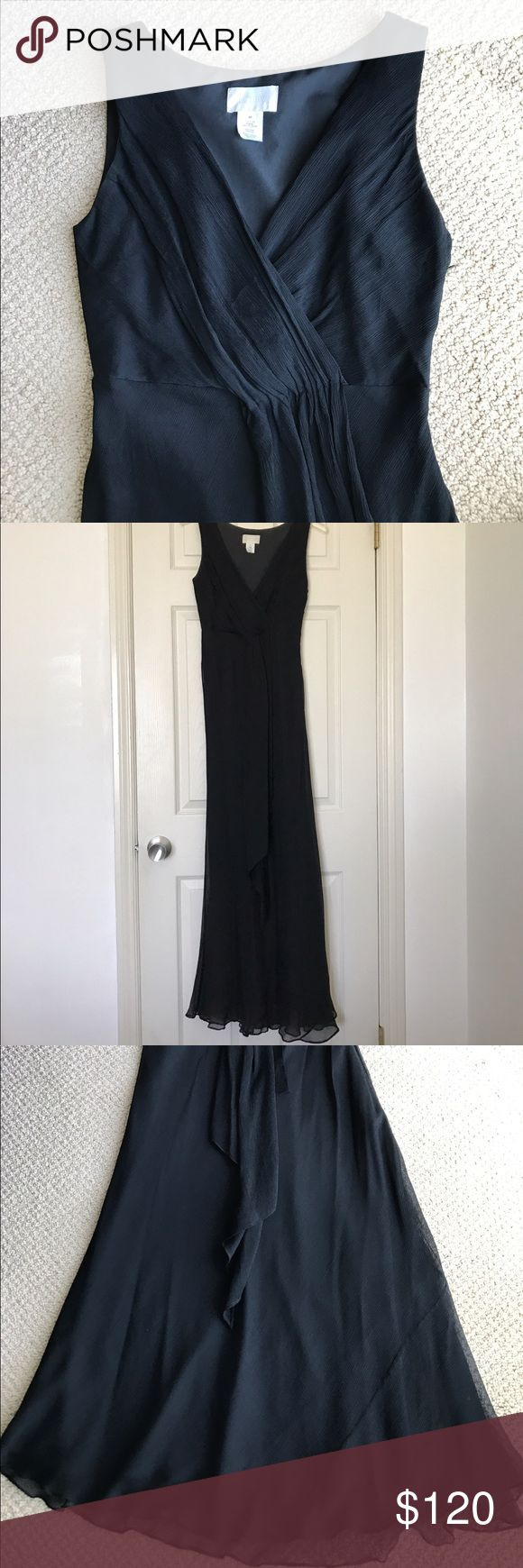 J.Crew Petite Formal Silk Gown J. Crew Petite Evie Long Dress in silk chiffon. Gorgeous, black formal gown perfect for a wedding or other special occasion. This is a really beautiful dress, but I have to re-posh because it was a couple inches too long for me. Great condition except for one very small snag near the bottom hem, as shown in the 2nd to last photo. Just trying to get my money back plus the cost of dry cleaning. J. Crew Dresses