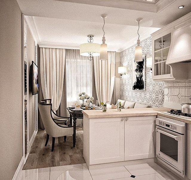 Утвержденный вариант дизайна интерьера по ул. Пирогова. Кухня, с разделением зоны: на рабочую и обеденную, в стиле неоклассика, общая площадь квартиры 63 м2. В интерьере преобладают основные цвета: серый, бежевый, белый и чёрный с присутствием минимализма, как говорится, ничего лишнего Дизайнер Ефремова Надежда @nadie_ef…