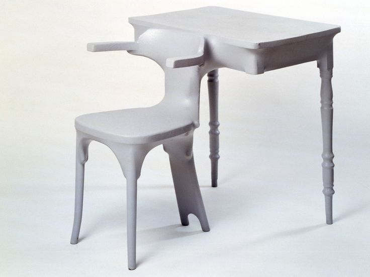 Existing furniture combined and covered with PVC - Kokon furniture, table-chair by Jurgen Bey for Droog