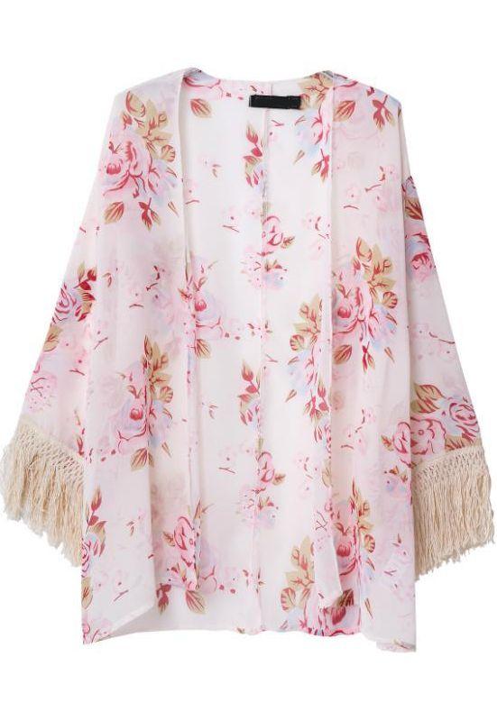 Pink Long Sleeve Floral Tassel Kimono - Sheinside.com