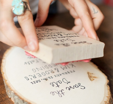 stamped wood save-the-dates with DIY instructions