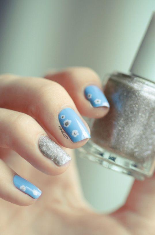 174 best nails light blue images on Pinterest | Arte de uñas ...