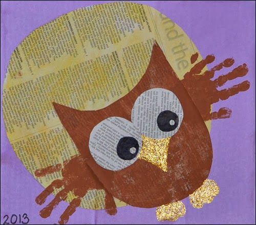 Handprint Owl Newspaper Art #kidscrafts @Shannon Bellanca Kendall McMahon Lump Toys