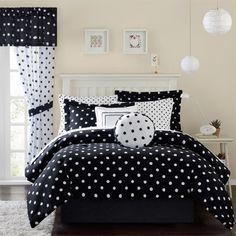 girl children kids teen duvet bedding black white polka dot