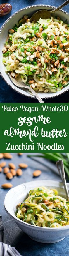 These almond butter sesame zucchini noodles are a delicious healthy makeover of classic sesame peanut noodles! The creamy almond butter sauce is sweetened just the right amount with dates and loaded with chopped almonds and scallions. Paleo, Whole30, and Vegan too!