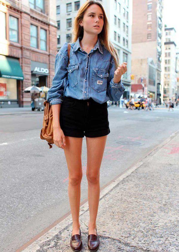 mocassim+shorts de cintura alta+camisa jeans