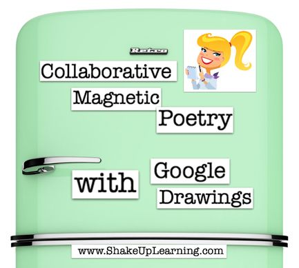Shake Up Learning has two posts about Google Docs in Collaborative Magnetic Poetry With Google Draw Kasey Bell provides you with a template to help students create poetry
