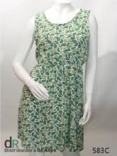 Vestido fibrana arabescos verde T.3