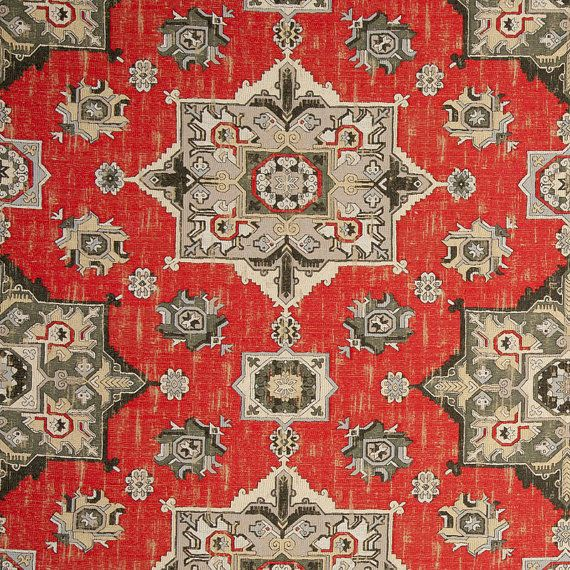 Grey Red Woven Tapestry Upholstery Fabric  от PopDecorFabrics