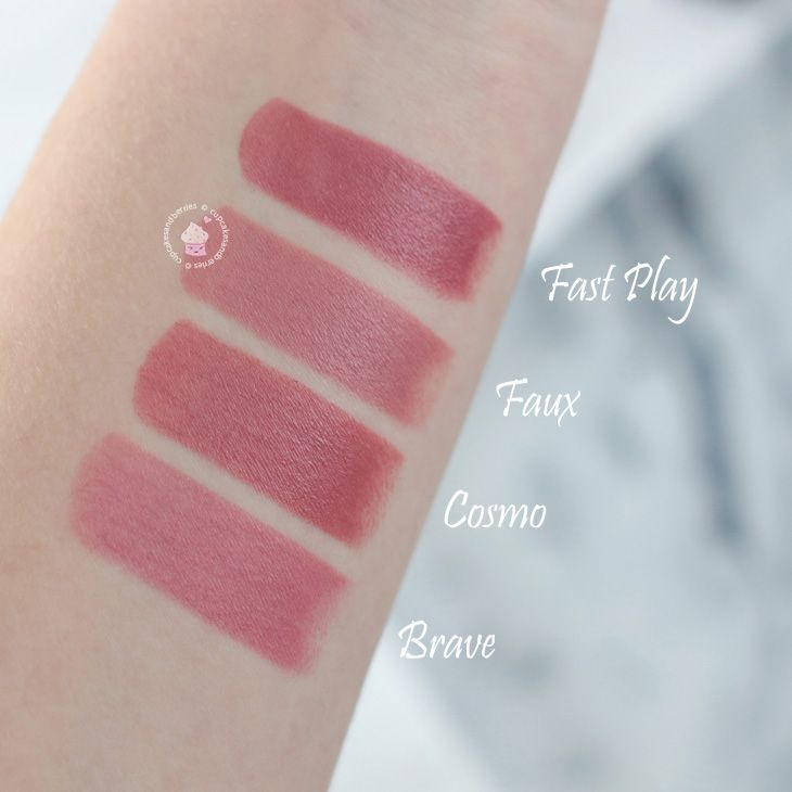 Swatches: MAC Fast Play, Faux, Cosmo, Brave | Review on cupcakesandberries.at