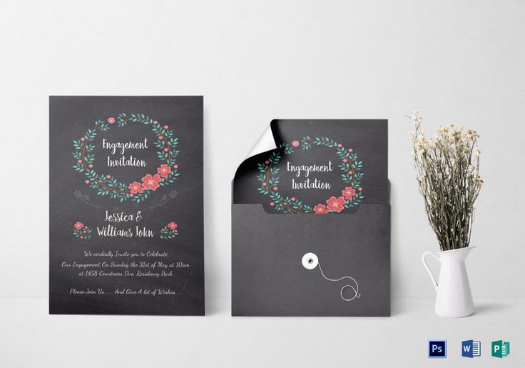 Engagement Invitation Card Template  Formats Included : MS Word, Photoshop, Publisher File Size : 5x7 Inchs Product Details: $12