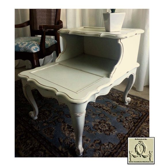 Delightful Vintage French Provincial, Shabby Chic, Two Tier/ Story/ Tiered Side Table.
