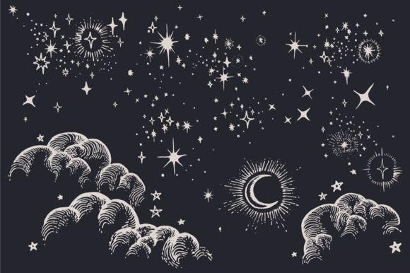 Star, Moon, Cloud, Sky Drawings by Feanne on Creative Market