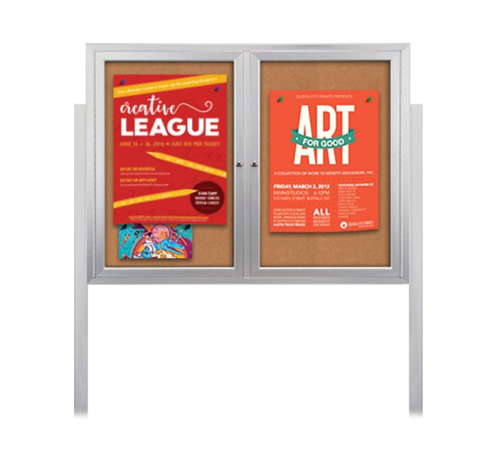 Stand Up Get Noticed Outdoor Message Board Display Case With 2 Or 3 Doors And Two 8 Leg Posts Let You Display And Pin A Poster Case Display Case Cork Board