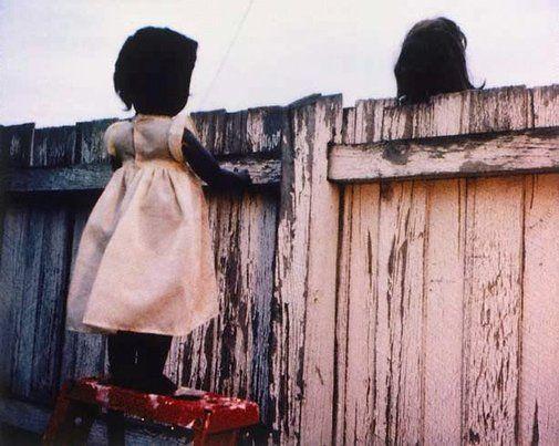 Destiny Deacon, Over The Fence, 2000, lambda print from polaroid