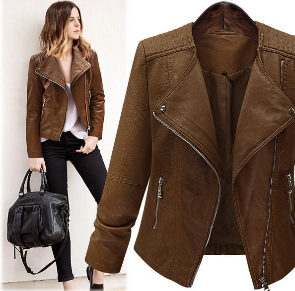 Trendy Womens Faux Leather Short Lapel Jacket Slim Fit Fashion Ladies Parka Coat