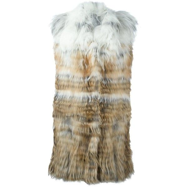Yves Salomon degrade fur vest (€2.605) ❤ liked on Polyvore featuring outerwear, vests, brown fur vest, yves salomon, brown vest, vest waistcoat and fur waistcoat